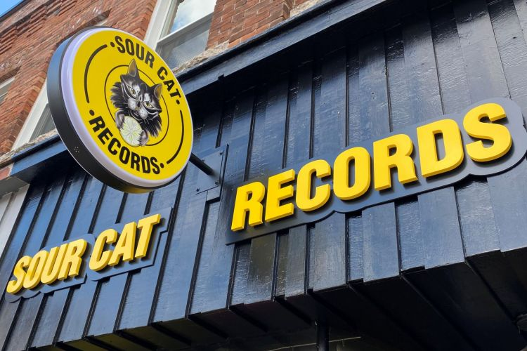 Sour Cat Records Store Front and Sign