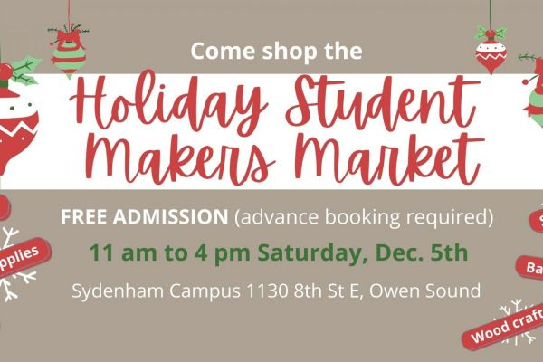 Student makers market poster with dates and details.